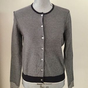 Land's End Blue & White Striped Cardigan Sweater